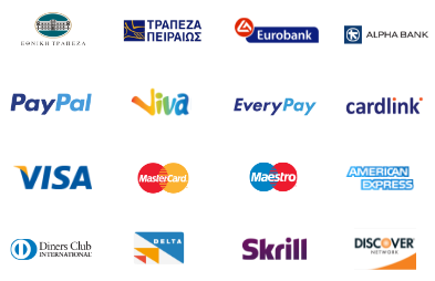 all payment methods e.g greece national bank, viva, paypal, alpha bank